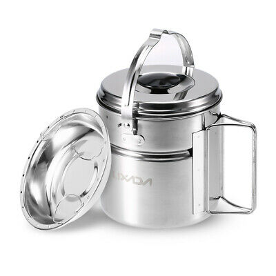 Lixada Stainless Steel Bail Handle Camping Pot with Internal Steaming Dish T1F9