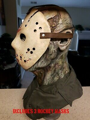 Friday the 13th part 6 Jason Lives. Jason Voorhees Resin Bust. With 3 Masks