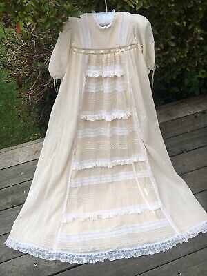 Exquisite Antique Vintage Baby Christening Dress Gown Cream Lace Doll Or Baby