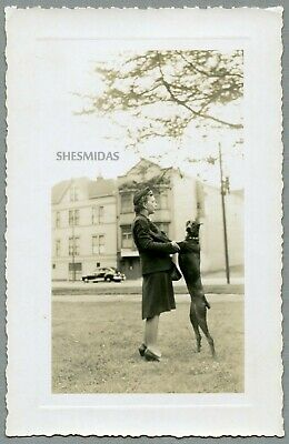 #376 Woman Dances With Her Doberman Pinscher Dog, Vintage Photo