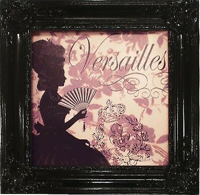 French Provincial Oleograph Versailles Silhouette Lady- Black Ornate Frame