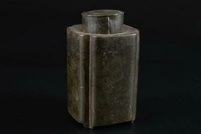G1672: Japanese Old Tin Shapely TEA CADDY Chaire Container Tea Ceremony