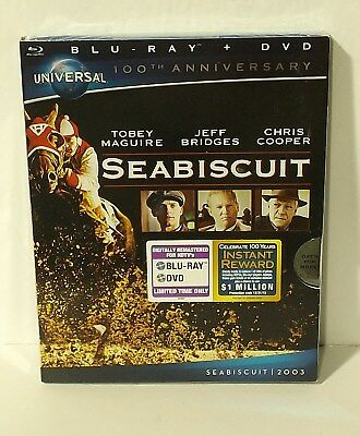 Seabiscuit (Blu-ray/DVD, 2012, Canadian 100th Anniversary) NEW with SLIPCOVER