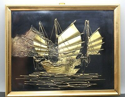 Vintage Gilted Copper Wall Art Of Chinese Junk On A River Framed Under Glass