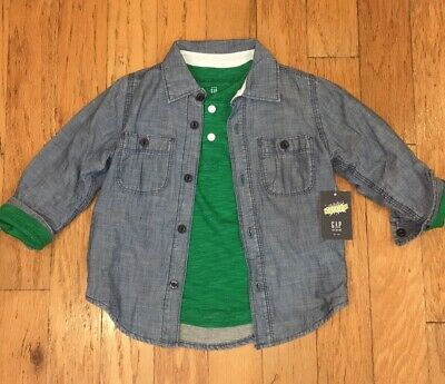 Baby Gap Boys 2 / 2T Shirt Jacket Set Green Henley & Jersey Lined Chambray NEW