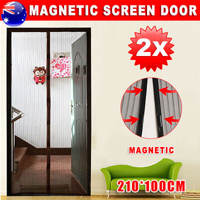 2 Packs Magnetic Door Mesh Black Fly Screen Magic Magna Bug Mosquito Curtain