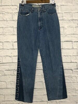 cf1ed6e1 VINTAGE VERSACE JEANS Couture Denim Silver Pattern Straight Leg Jeans 28  ITALY