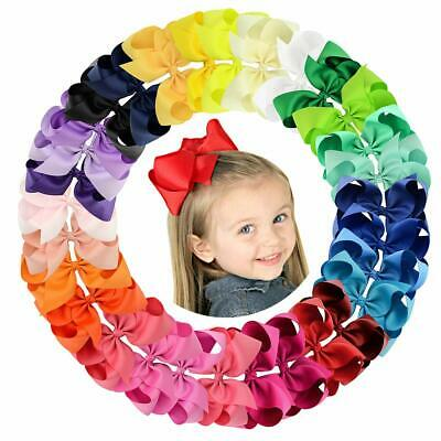Big 30pcs 6in Grosgrain Ribbon Hair Bows Clips for Girl Toddler Teens