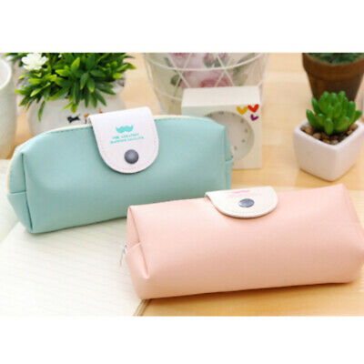 Pen Bag Travel Makeup Cosmetic Pouch Student Pen Holder PU Leather Pencil Case