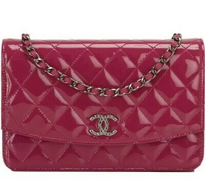 56ff8e93730f23 100% AUTH. CHANEL Fuchsia Pink Patent Leather Woc Wallet On Chain ...