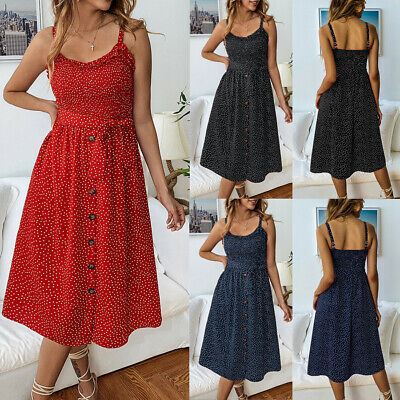 Boho Womens Holiday Strappy Button Pleated Summer Beach Swing Spotted Midi Dress