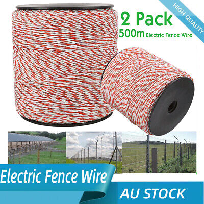 1000m Polywire for Electric Fence Energiser Fencing Kit Nylon Poly Wire Rope