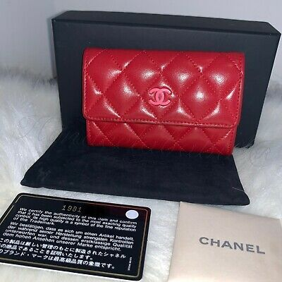 2bad0b290f6c02 AUTH. CHANEL QUILTED Mini FLAP Classic Card Holder Red Lambskin Pink ...