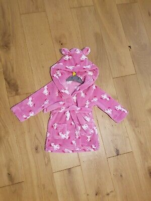 Baby Girl Pink Unicorn Design Dressing Gown 12-24 Months