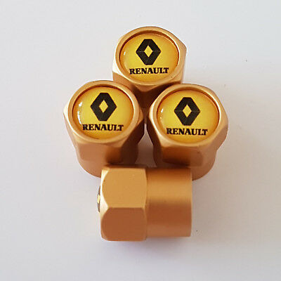 RENAULT YELLOW TOP GOLD car Valve Alloy wheel dust Caps Fits All Models