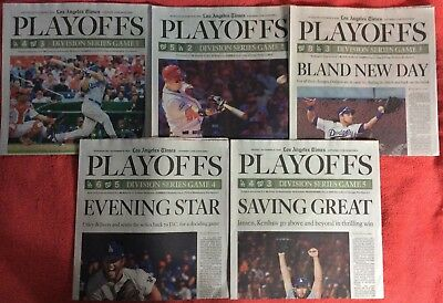 5 LOT LOS ANGELES TIMES BASEBALL PLAYOFF DODGERS vs NATIONALS OCTOBER 2016
