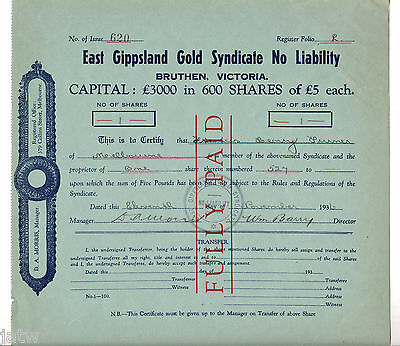 Share Scrip - Mining. 1936 East Gippsland Gold Syndicate - Bruthen Victoria