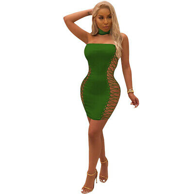 Women Sleeveless Plunge Lace Up Bodycon Dress Ladies Cocktail Party Mini Dresses
