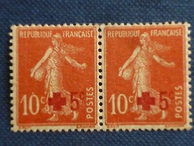 France 1918 5c Red Cross surcharge on 10c pair MINT never hinged SG 351