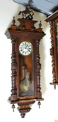 Fab Old & Very Large Impressive Double Weighted Gustav Becker Vienna Wall Clock