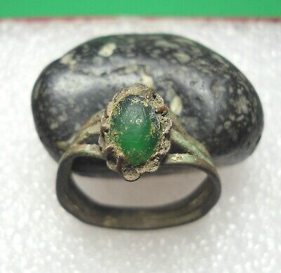 Ancient Roman Bronze Ring with Green stone Original Authentic Antique Rare R644