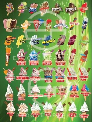 ICE CREAM VAN MENU STICKER DECAL LONG LASTING 650mm x 850MM GREEN