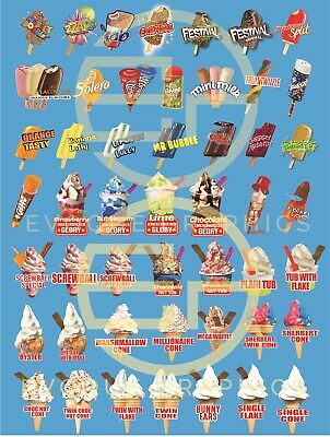 Ice Cream Van Menu Sticker ( 5 Changes Free ) Made To Fit