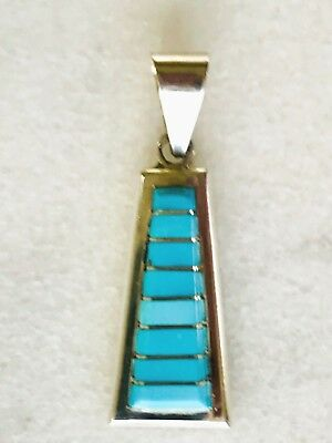 Zuni Inlay Channel Set Sleeping Beauty Turquoise Sterling Silver Pendant  #t P61