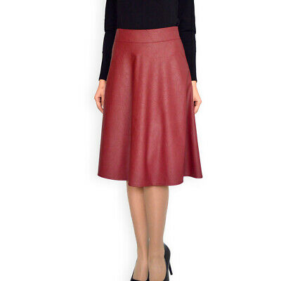 Casual Office Lined Pencil Bordeaux Faux Leather skirt UK 8 10 12 14 16 18 20 22