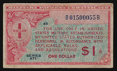 Military Payment Certificate US Series 471 One Dollar $1 1947 P-M12