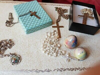Vintage Religious Jewellery in silver coloured jewellery box