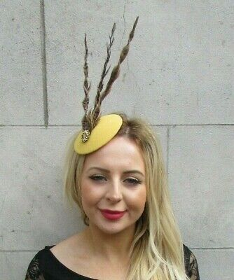 Mustard Yellow Gold Brown Pheasant Feather Pillbox Hat Hair Races Headpiece 7086