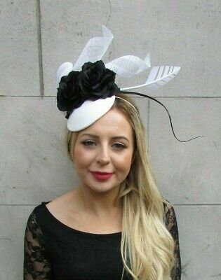 Black & White Rose Floral Flower Feather Hat Hair Fascinator Races Wedding 7087