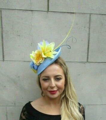 Baby Light Blue Lemon Yellow Feather Floral Disc Saucer Hat Fascinator Hair 7089