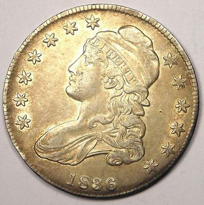 1836 Capped Bust Half Dollar 50C - Sharp Details - Nice Luster - Rare Coin!