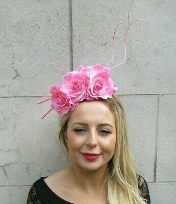 Baby Light Pink Rose Flower Floral Feather Fascinator Headband Races Hair 7092