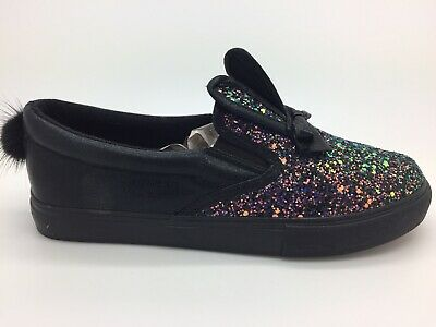 Girls Glitter Shoes Slip On Junior Bunny Trainers Pumps New UK Size 3 Black