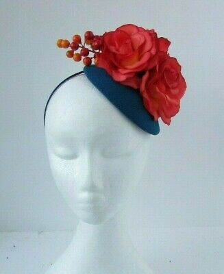 Teal Blood Orange Rose Berry Flower Hair Fascinator Hat Races Wedding 7094