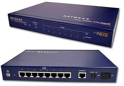 Netgear FVS318 Cable/DSL proSafe VPN Firewall /w 8-Port 10/100 Mbps Switch NO AC
