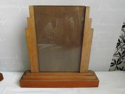 1930's Oak & Glass Art Deco Style Photo Frame With 1 Pane of Glass & Board Back