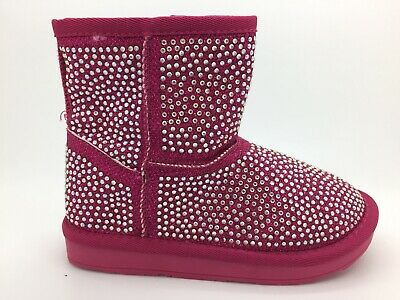Infants Girls Pink Ankle Boots Diamonte New In Box UK Size 10