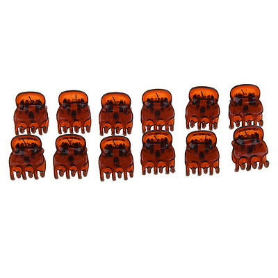 12pcs Newly Coffee Plastic Mini Hairpin 6 Claws Hair Clips Clamp For Women