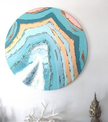 ORIGINAL ARTWORK PAINTING TEAL & ROSE GOLD GEODE ROUND PAINTING w GEMSTONES