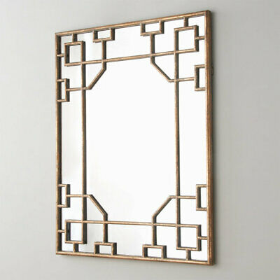 Chic Chinoiserie Wall Mirror Antique Gold French Modern Regency Asian Vanity