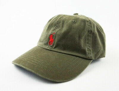 Men s Polo Hat 100% Cotton New Red Pony Logo Army Green Golf Sport Baseball  Cap f655f29be99