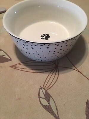 Black Paw Dog Bowl With White Bowl And Black Dots Dishes, Feeders & Fountains