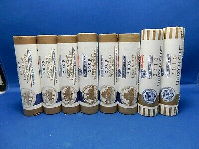 2009 & 2010 P&D Lincoln Cents US Mint Wrapped 8-Roll Lot LP2 LP3 LP4 LP5