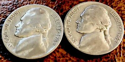 1942 P S JEFFERSON SILVER 35% WW II Era NICKELS, Circulated