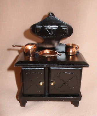 Kitchen Range / Oven / Cooker With Chimney Black , + 3 Copper Utensils 12thscale