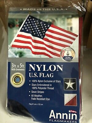 Annin Flagmakers American Flag 3x5 ft. Nylon SolarGuard Nyl-Glo , Embroidered